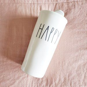 Rae Dunn Happy To-go Ceramic Mug Cup Tumbler White
